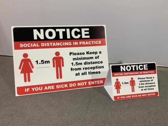COVID-19 Freestanding Social Distancing In Practice Safety Sign