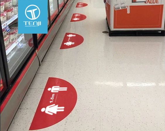 COVID-19 Social Distancing In Practice Safety Floor Graphics